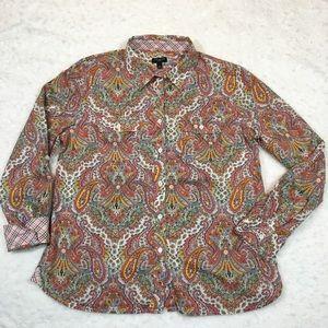 Paisley Vintage Boho Vibes Talbots Petite shirt